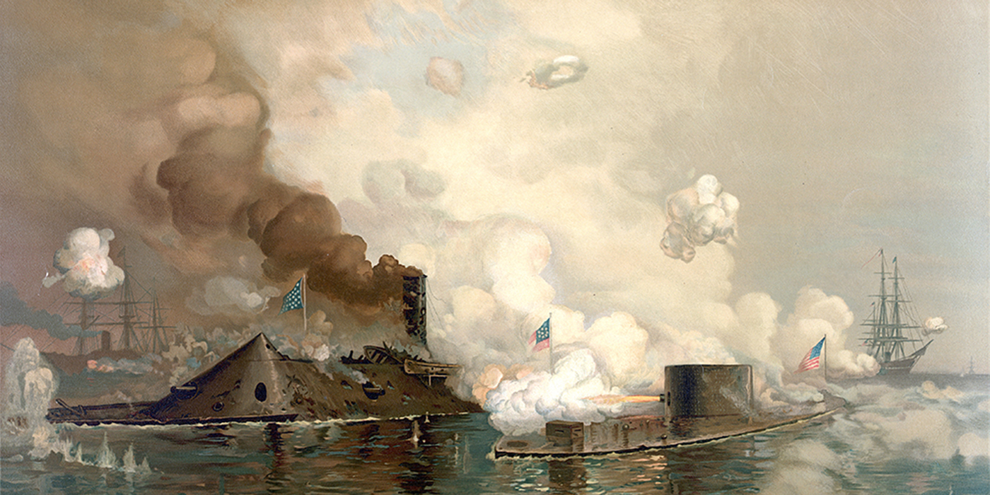 "'The <em>Monitor</em> and Merrimac: The First Fight Between Ironclads"" Chromolithograph of the Battle of Hampton Roads Produced by Louis Prang & Co., Boston, 1886 Public Domain"