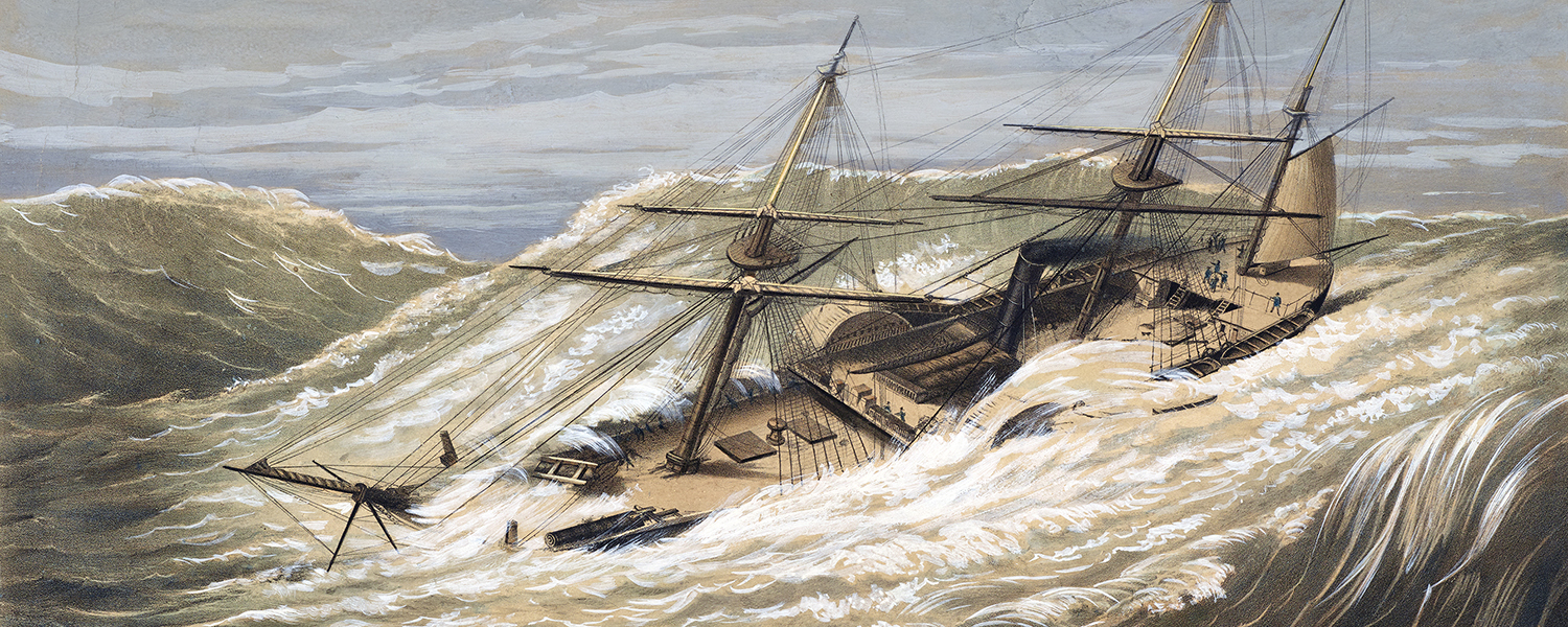 """The US Navy's paddle steamer """"USS Mississippi"""" encounters a typhoon during her voyage from Japan to the Sandwich Islands, 7th October 1854. Lithograph by Currier & Ives after E. Brown, Jr."""