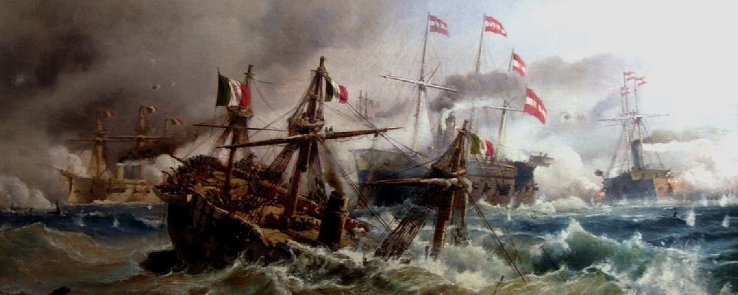 Lissa naval battle, July 20th,1866; the Austrian navy against the Italian fleet. The RN Re d'Italia is sinking after being rammed by Tegetthoff's flagship, the SMS Ferdinand Max.